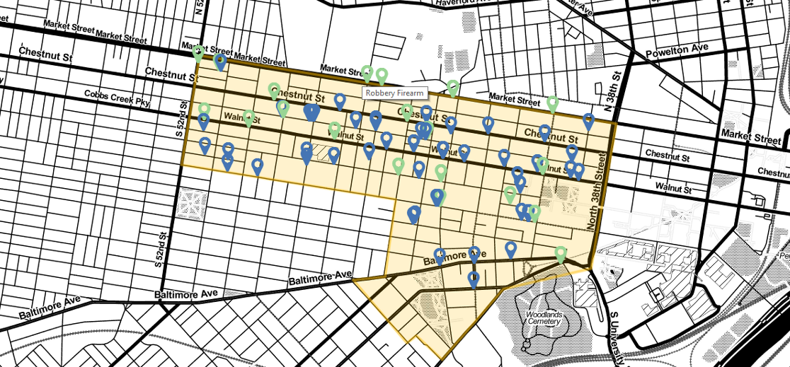 A map of crime in the Spruce Hill and Walnut Hill area from December 30 to March 31.