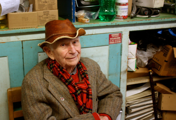 Russell Goudy Sr. enjoys his lunch in the back room of W.M. Kilians, the hardware store founded by his uncle in 1923.