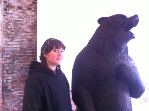 Darla Jackson showed off her bear sculpture.