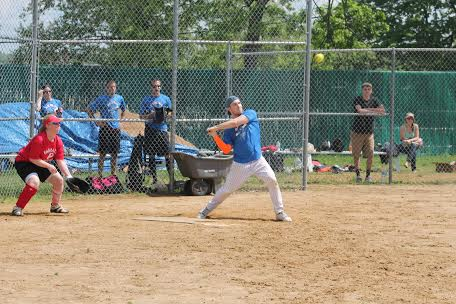 Steve Tierney awaits a pitch  during a pick-up Softball game in Roxborough.