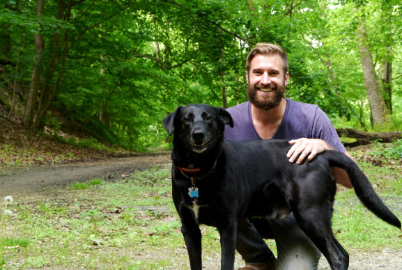 Austin Tremellen and Brody going on a walk in the Wissahickon Park