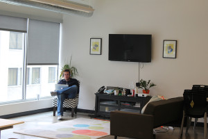 """Curalate's office, at 2401 Market Street, mostly consists of one big room, including a corner referred to as the """"living room."""""""