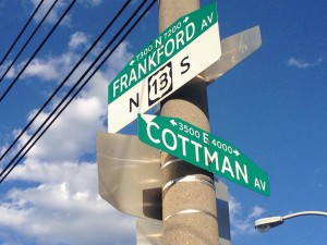 Sign located at the intersection of Frankford and Cottman Avenues.