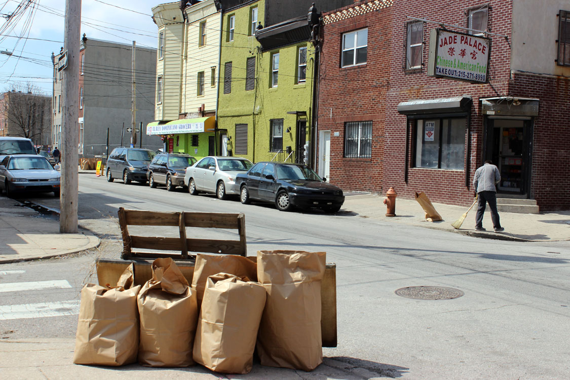 Neighbors swept and picked up trash on Philly Spring Cleanup Day in Dickinson Square West.