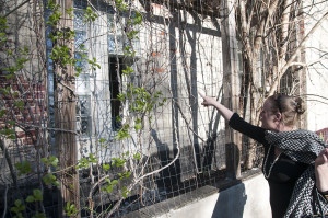 """Philadelphia artist Samantha Monroe points at the entry point where squatters have broken into her West Philadelphia house. """"Don't shoot me! This is my house!"""""""