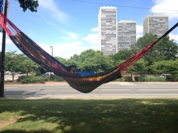 Harbor Park's hammocks provided the perfect place to relax during its hectic opening weekend.