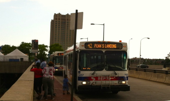SEPTA buses have helped to make the Penn's Landing area more accessible to Center City.