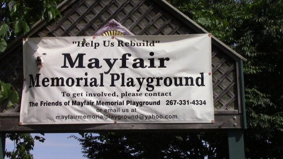 The Mayfair Memorial Playground at Vista and Rowland Ave. was built entirely from community funding.