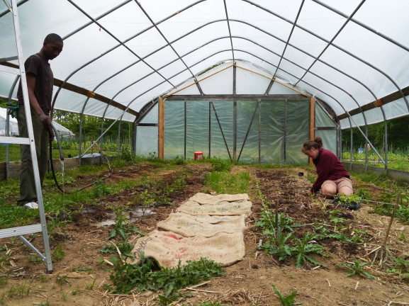 Corrie Spellman, right, is taking care of the plants in the greenhouse while she teaches one of her student to do the same