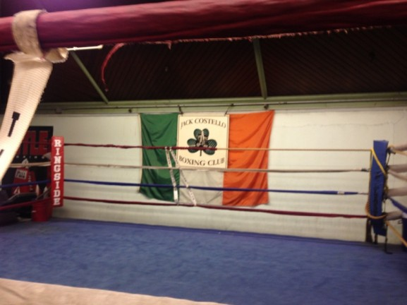 The Jack Costello Boxing Club flag pays homage to Jack Costello and his Irish background.