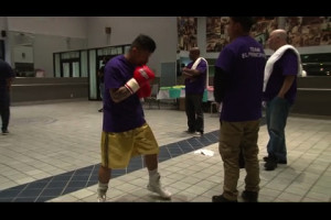 Pedro Andres warms up for his fight against Philadelphia's own Ramir Hilliard.