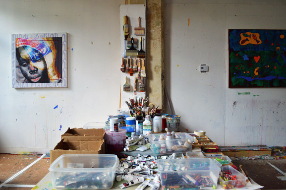 The studio of Victor Atkins is filled with supplies to prepare him for his current work.