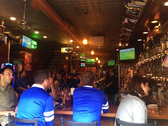 Everton fans watch their team defeat West Brom.