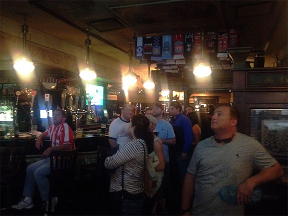 Sunderland, Manchester City and Tottenham Hotspur fans gather at Fado to watch their teams play.