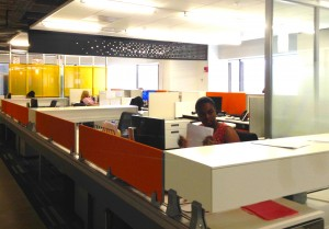 New open spaces allow workers to communicate freely