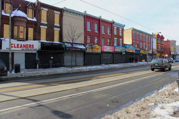 Closed storefronts during normal business hours on the 4000 block of Lancaster Avenue