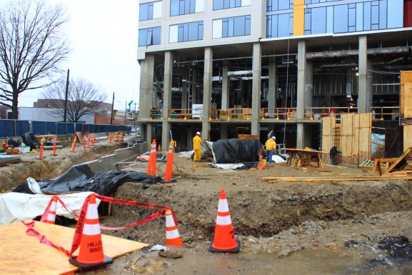 Construction for Drexel University student housing in Mantua