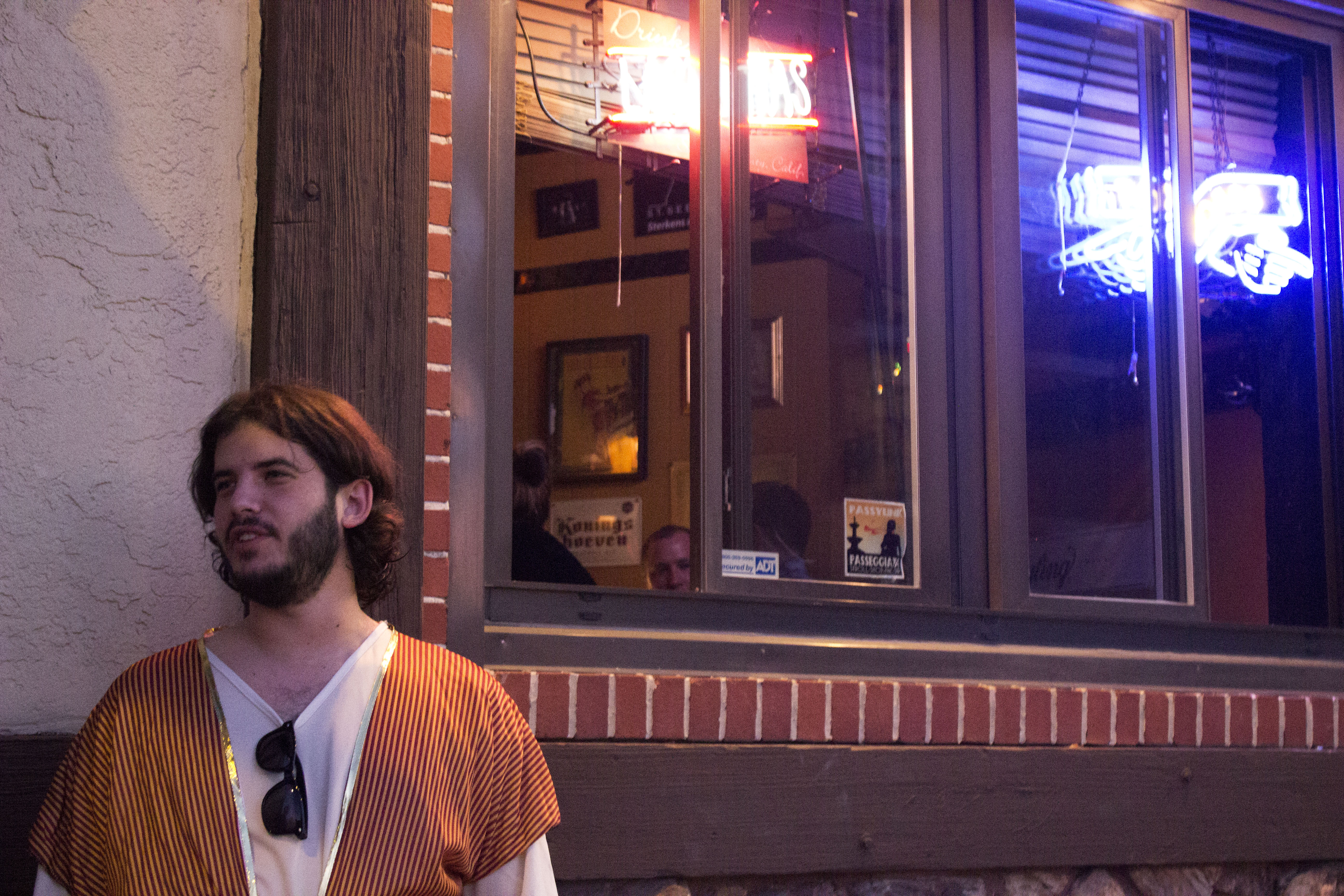 Dave Goldstein, an employee of Founders Brewing Company, visited the bar on Sept. 24 dressed as Jesus.