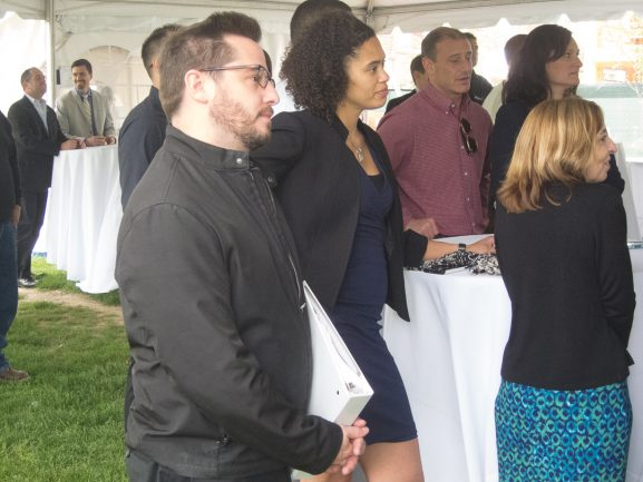 Drew Murray listens to Mayor Kenney at rededication of Baldwin Park.