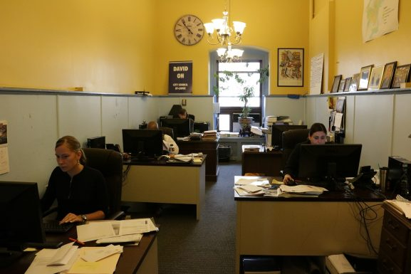 Councilman Oh's staff works in one of his offices in City Hall