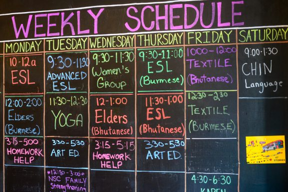 Southeast by Southeast's weekly schedule. Started as a pop-up exhibit by the Mural Arts Program, Southeast by Southeast now sits next to a SEAMAAC office on South 8th street, a neighborhood heavily populated by Southeast Asian refugees.