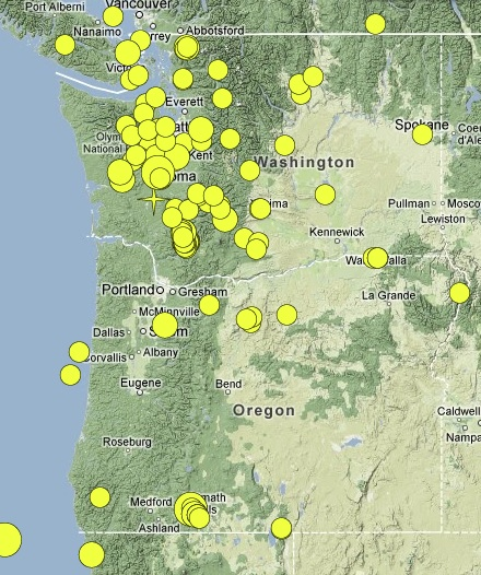 Earthquake Map Portland Oregon Submited Images