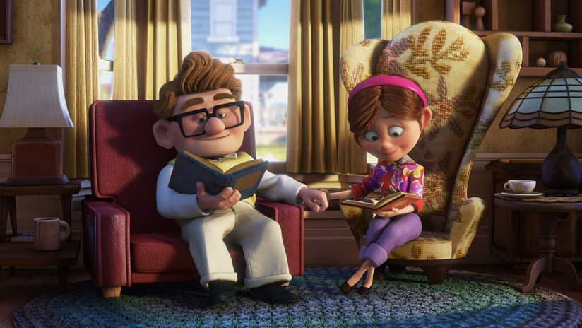 couple reading together from Up movie