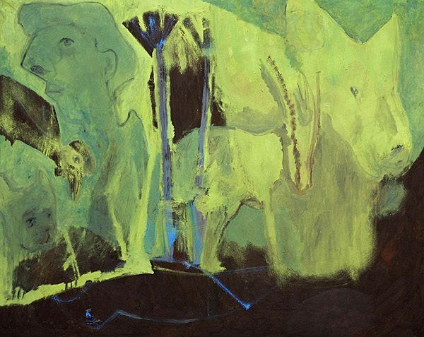 Self-Portrait with Aninmals by a River Expressionist painting by Edgeworth Johnstone