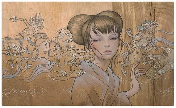 Pin It - Audrey Kawasaki's One-of-a-Kind Wood Panel Paintings