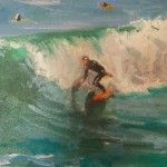 5 California Surf Paintings by Kathleen M Robison