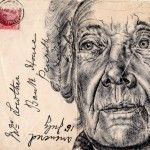 Pen Portraits On Vintage Envelopes by Mark Powell