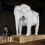 White Elephant – Gigantic Origami Sculpture by Sipho Mabona