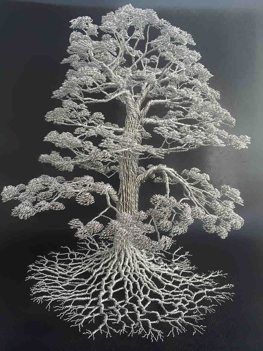 Wire art tree sculptures