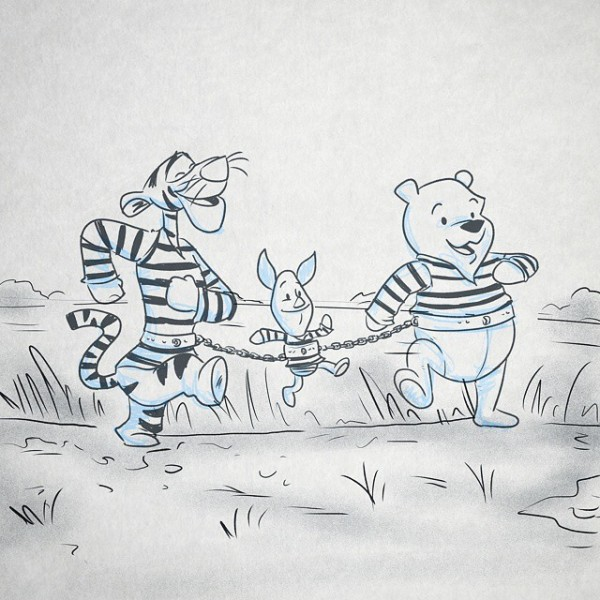 Oh Bother, Where Art Thou? Convicted felon, Winnie, breaks out of jail with the help of his prison mates Tigger and Piglet, and set off on a cross-state journey to find his missing honey pot.