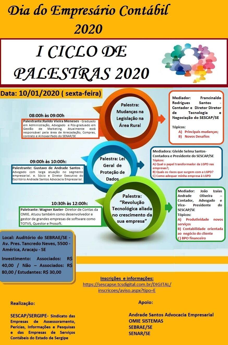 I CICLO DE PALESTRAS 2020