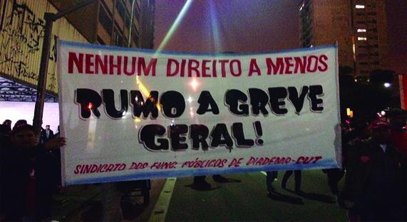 """Centrais sindicais e as Frentes Brasil Popular e Povo sem Medo chamaram o ato de """"esquenta"""" para a greve geral"""
