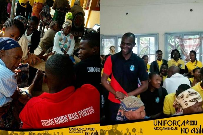 Jovens do Uniforça visitam asilo em Maputo