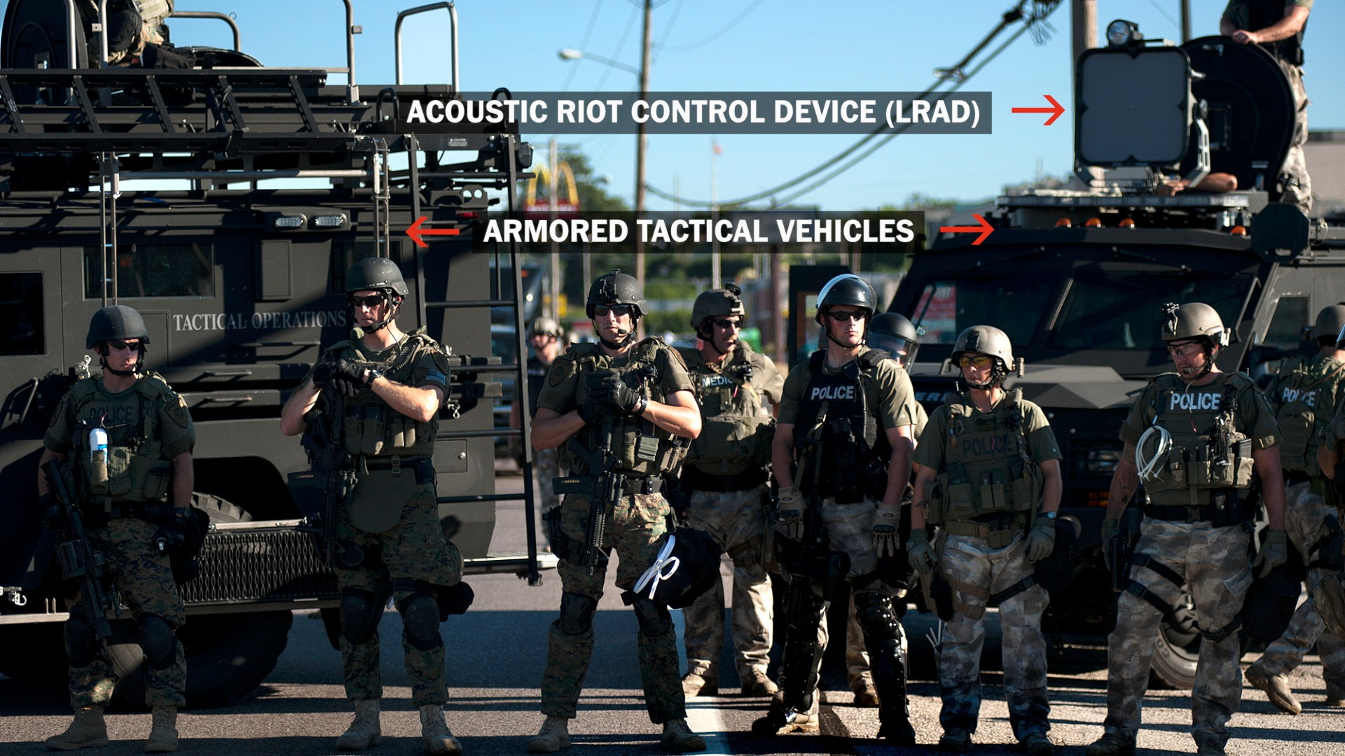 the modern militarization of police in the united states The ongoing clashes between residents of ferguson, mo and heavily armed police forces - which are equipped with m16 rifles and armored vehicles - have drawn attention to the increasing militarization of police in the united states.
