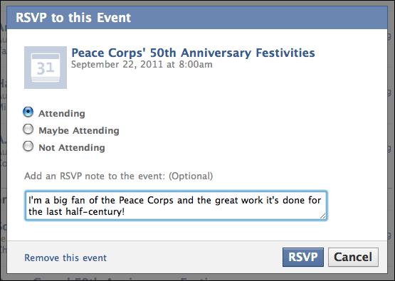 sample Facebook event page