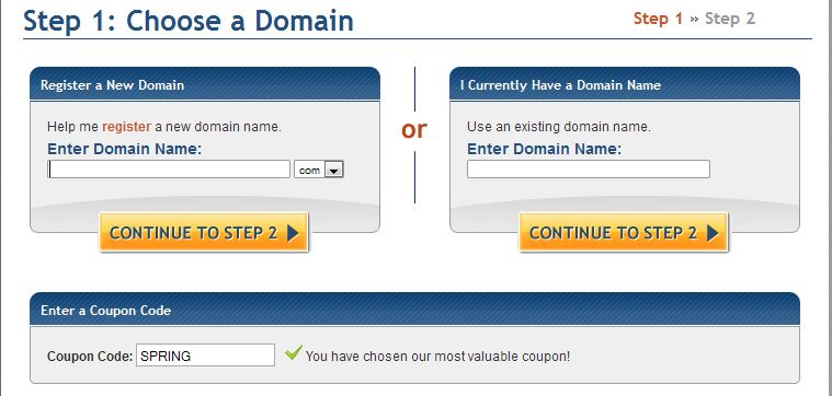 enter domain name for Gator hosting account