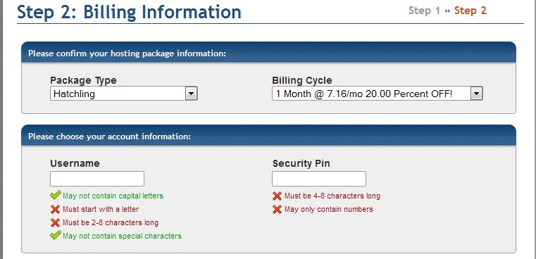 Gator hosting billing info