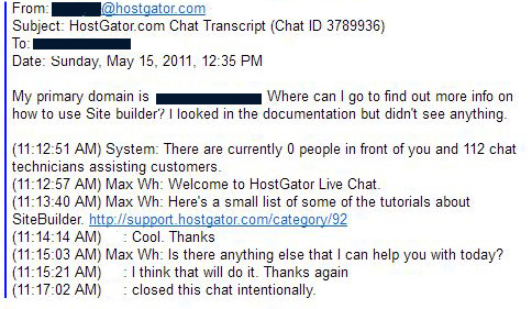 HostGator support chat text