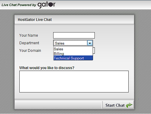 HostGator support start chat