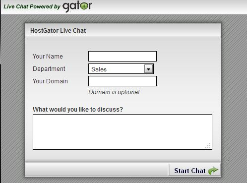 HostGator support live chat