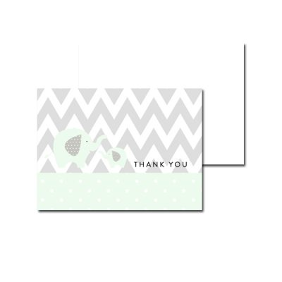 Baby-Shower-Mint-Green-Chevron-Gray-Elephant-Thank-You-Card