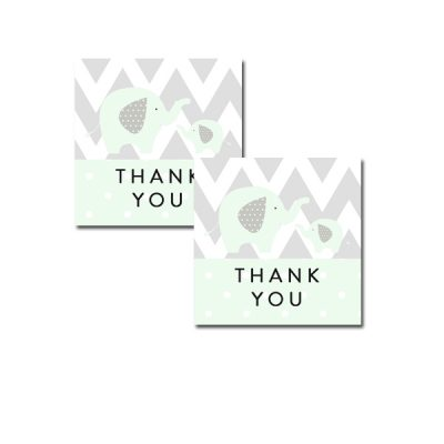 Baby-Shower-Mint-Green-Chevron-Gray-Elephant-Tag