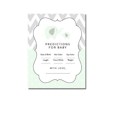 Baby-Shower-Mint-Green-Chevron-Gray-Elephant-Predictions