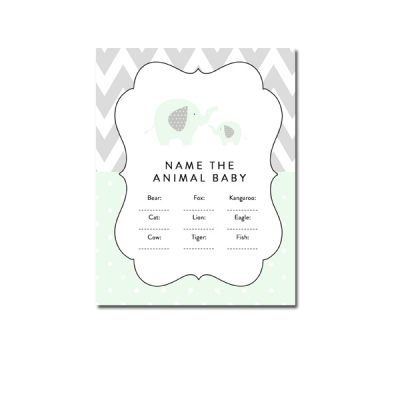 Baby-Shower-Mint-Green-Chevron-Gray-Elephant-Name-Animal-Baby