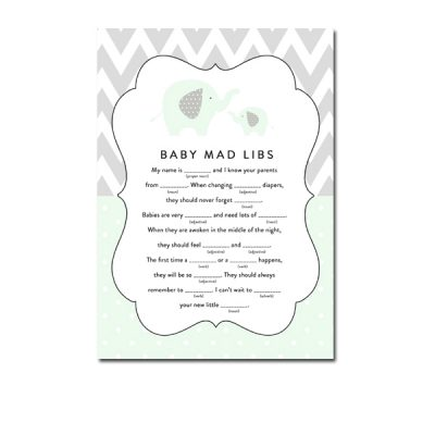 Baby-Shower-Mint-Green-Chevron-Gray-Elephant-Mad-Libs