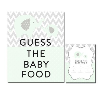Baby-Shower-Mint-Green-Chevron-Gray-Elephant-Guess-Baby-Food